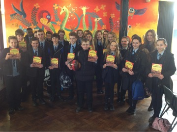 Bassaleg pupils with copies of their book