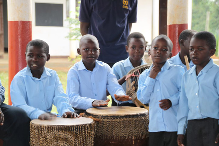 Children playing drums