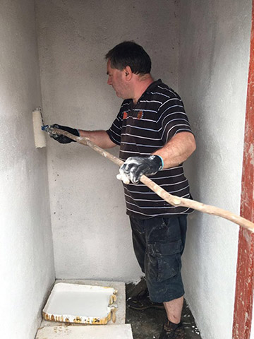 Painting the shower cubicles