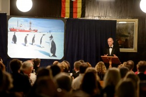 Sir Ranulph Fiennes speaking at the dinner